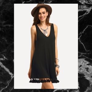 Dresses & Skirts - 🖤BLACK DOUBLE V NECK TASSEL DRESS🖤